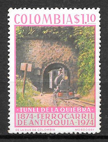 sellos trenes Colombia 1974