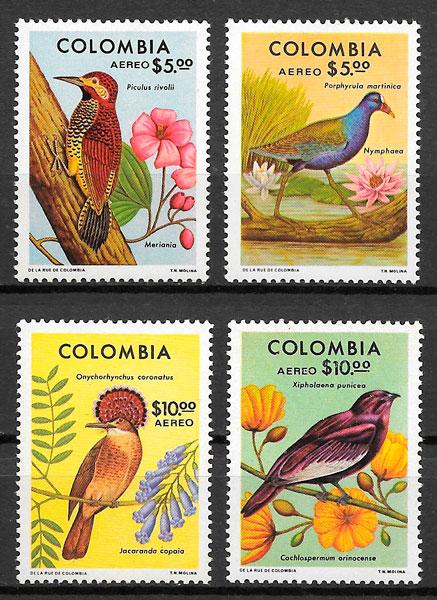 filatelia colección fauna y flora Colombia 1977
