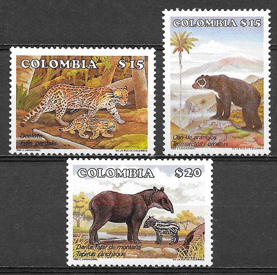 filatelia fauna Colombia 1985