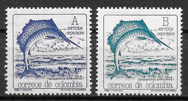 colección sellos fauna Colombia 1988