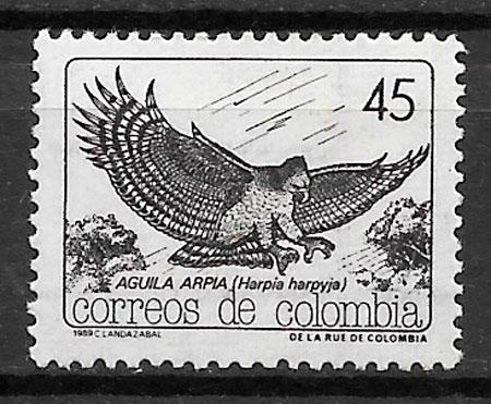 colección sellos fauna Colombia 1989