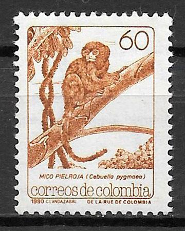 colección sellos fauna Colombia 1990