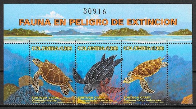 colección sellos fauna Colombia 1999