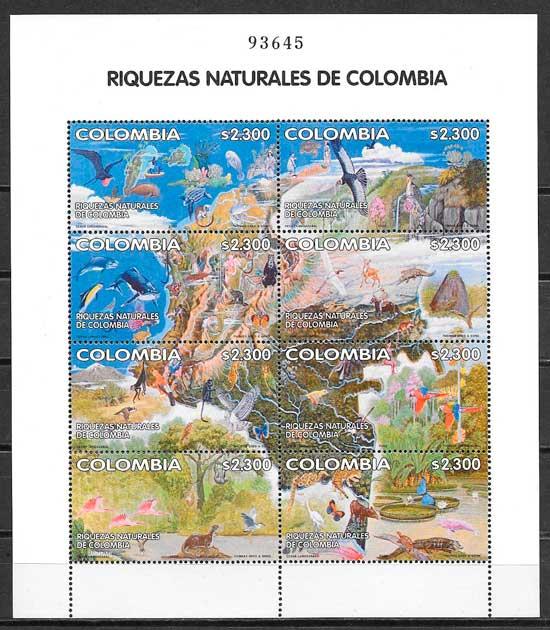 colección sellos fauna Colombia 2002