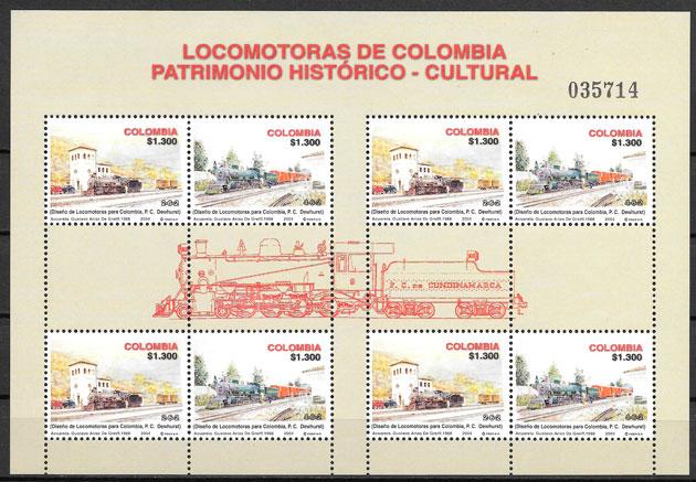 filatelia colección trenes Colombia 2004