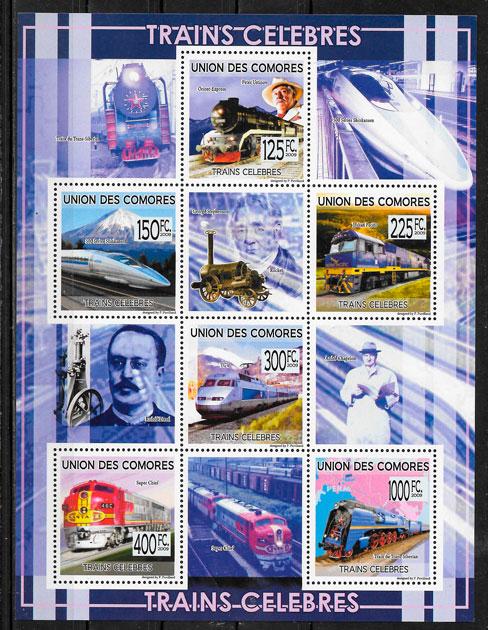 filatelia colección trenes Centroáfrica 2009