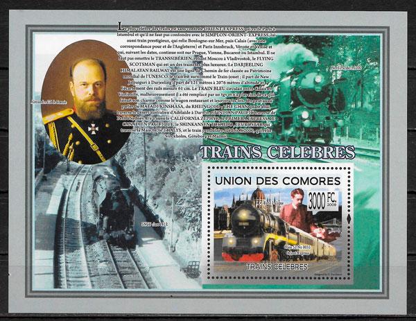 filatelia colección trenes Centro áfrica 2009