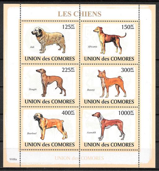 filatelia perros Comores 2009