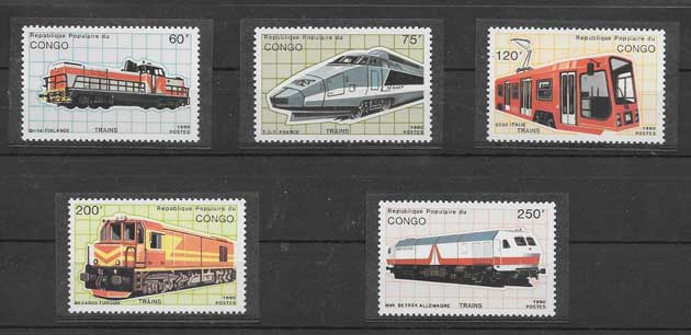 Sellos filatelia trenes Congo-1991-02