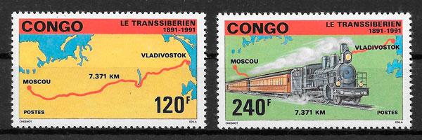 filatelia trenes Congo 1991