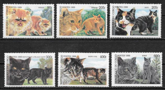 colección sellos gatos Congo 1999