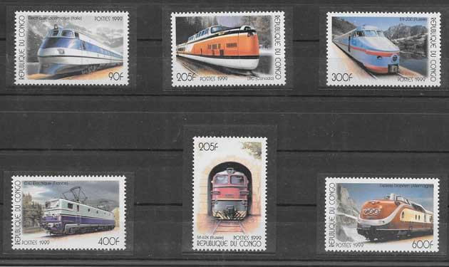 Sellos filatelia trenes Congo-1999-02