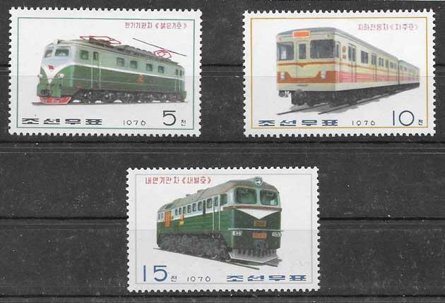 sellos 1976 trenes Corea del Norte