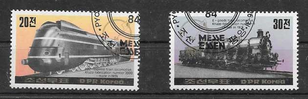 Colección sellos trenes de Corea 1984