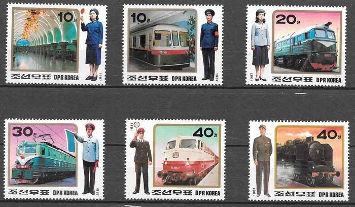 sellos Corea del Norte 1987 trenes