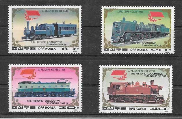 Colección sellos transporte trenes 1988