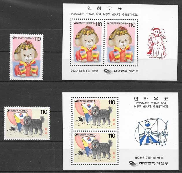 sellos filatelia año lunar Corea del Sur 1993