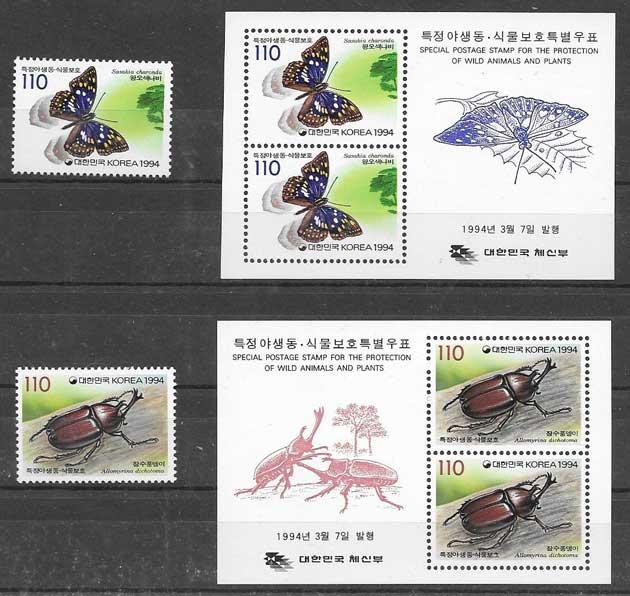 colección sellos fauna Corea del sur 1994