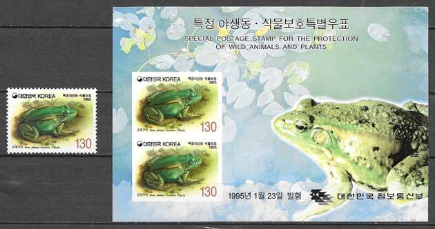 sellos colección fauna Corea del Sur 1995