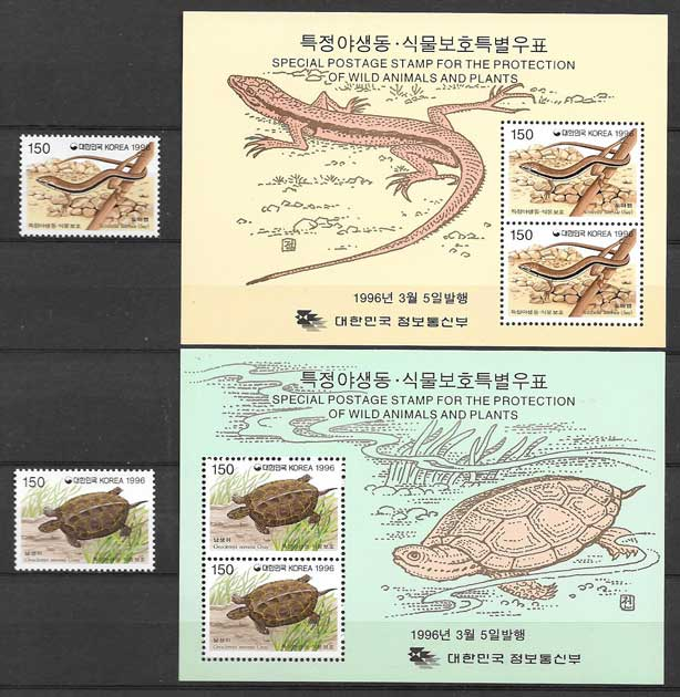 sellos fauna Corea del Sur 1996