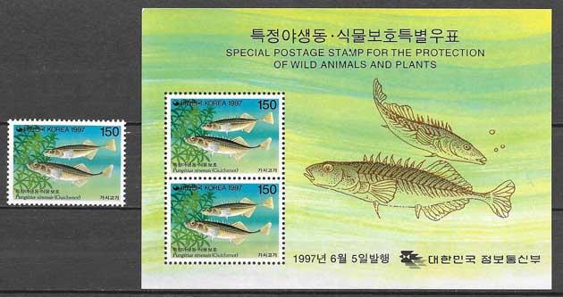 Filatelia fauna Corea del Sur 1997