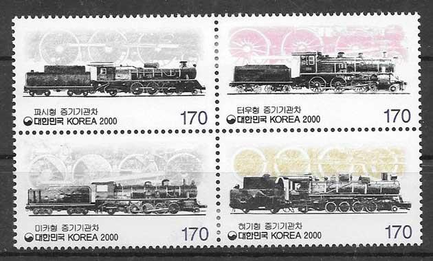 Filatelia trenes Corea del Sur 2000