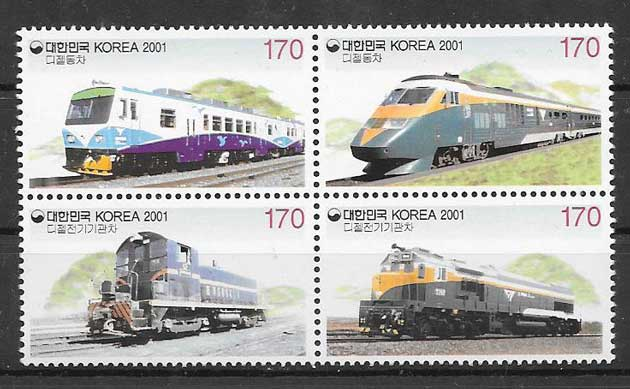 sellos trenes Corea del Sur 2001