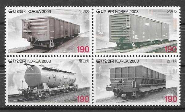 sellos trenes Corea del Sur 2003