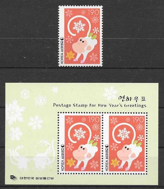 Filatelia año lunar Corea del sur 2003
