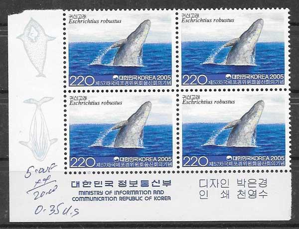 colección sellos fauna Corea del Sur 2005