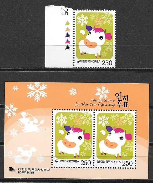 Colección sellos año lunar Corea del sur 2008