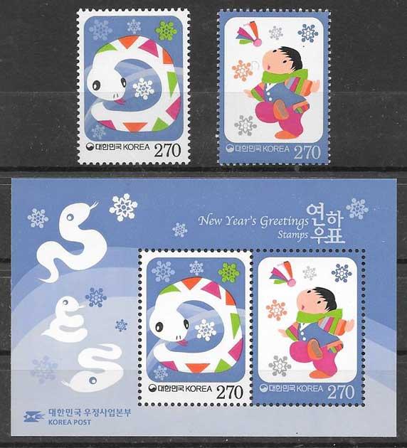 Filatelia año lunar Corea del Sur 2012