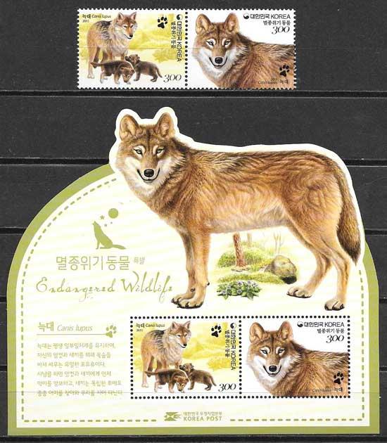Filatelia fauna Corea del Sur 2015