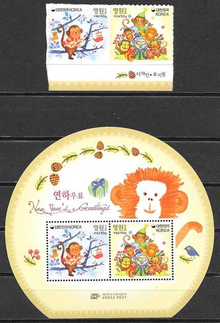 Filatelia año lunar Corea del Sur 2016