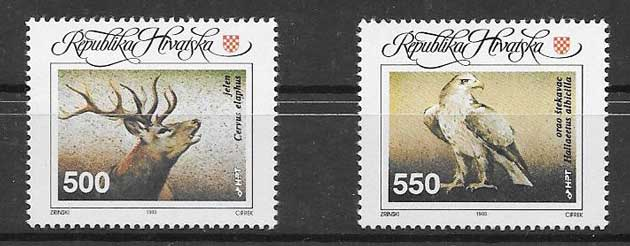 sellos filatelia Croacia fauna 1993