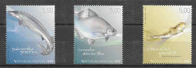 Filatelia sellos peces de agua dulce Croacia