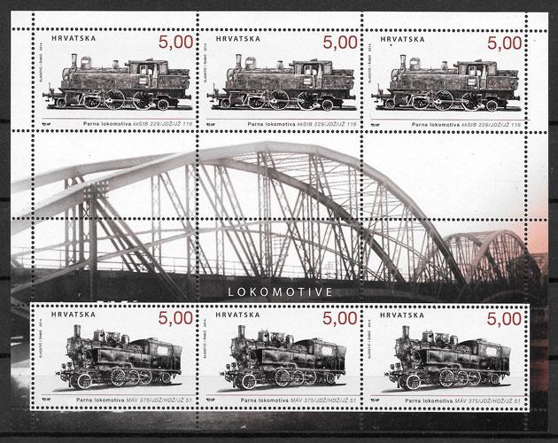 filatelia colección trenes Croacia 2014