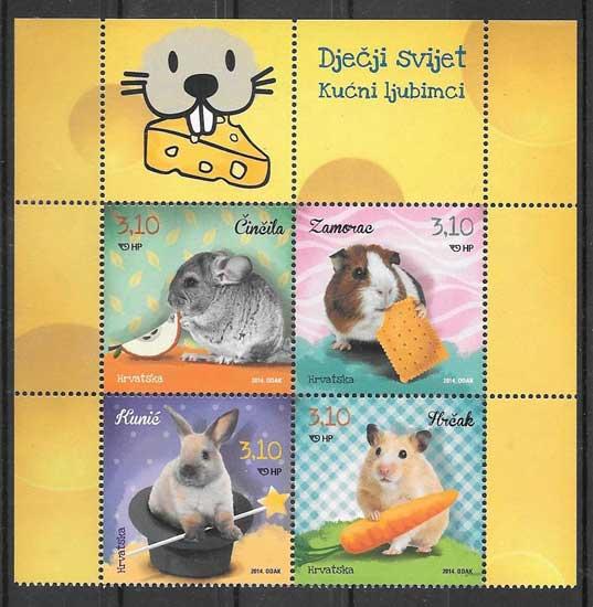 Filatelia sellos animales de compañía Croacia 2014