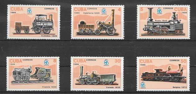 Sellos Filatelia locomotoras antiguas de Cuba 1988