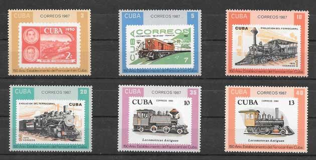 Sellos Filatelia transporte ferroviario Cuba 1987