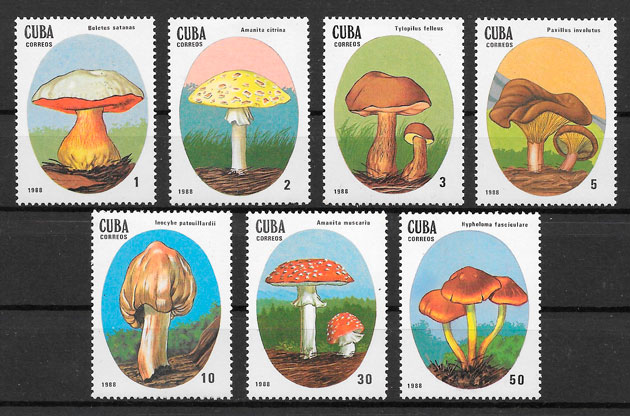 colección sellos setas Cuba 1988