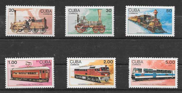 Sellos Filatelia locomotoras del país 1988