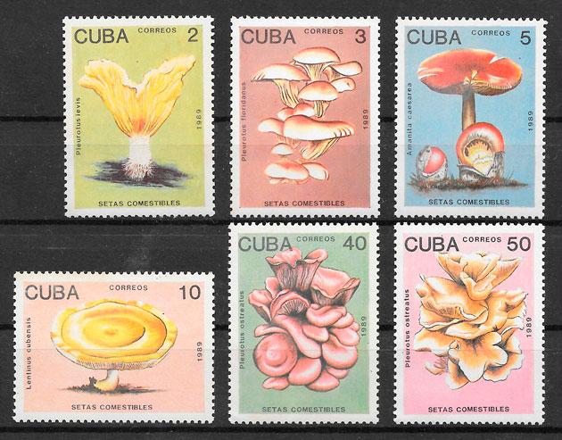 colección sellos setas Cuba 1989