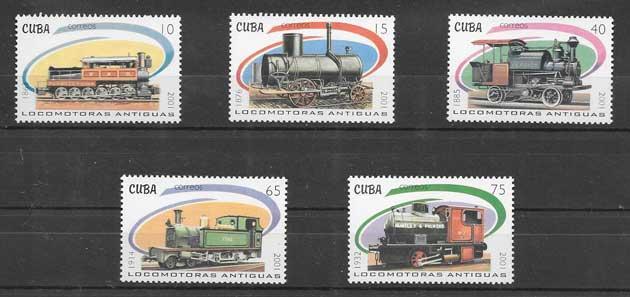 Sellos Filatelia transporte ferroviario Cuba 2001