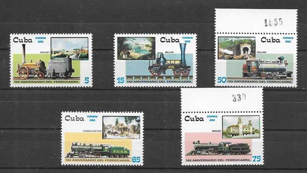Sellos Colección locomotoras de Cuba 2002