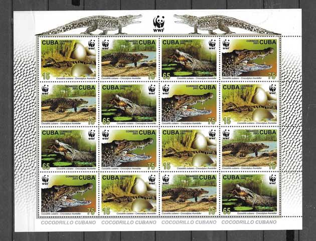Sellos hojita de fauna - cocodrilos