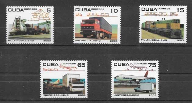 Filatelia sellos diferentes medios de transportes