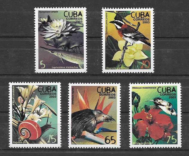 Estampillas flora y fauna Cuba 2003