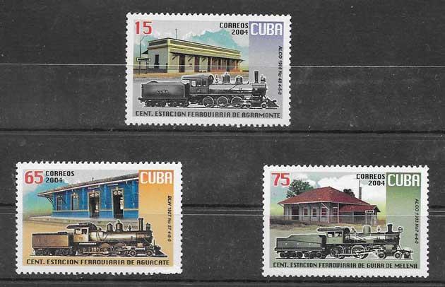 sellos trenes y estaciones de Cuba