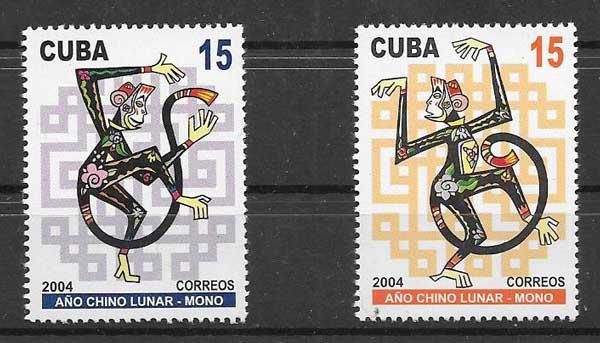 Estampillas año lunar cuba 2004